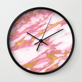 Pink marble with gold Wall Clock