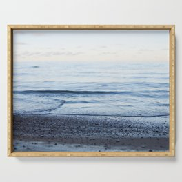 Calm waves, pastel sunset Serving Tray