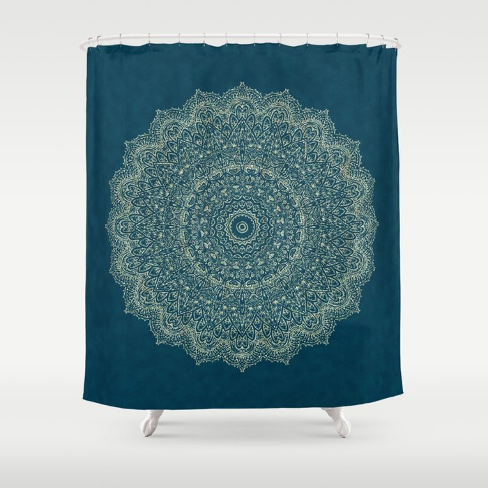 Rose Gold Marble Mandala Turquoise Textured Shower Curtain