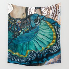 Turquoise Twirling Wall Tapestry