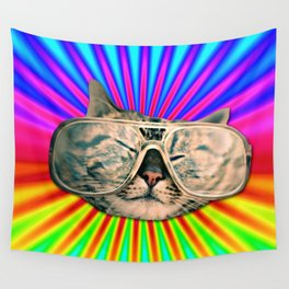 GLASSES CAT Wall Tapestry