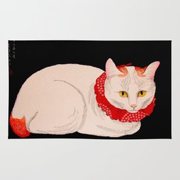Shotei Takahashi White Cat In Red Outfit Black Background Vintage Japanese Woodblock Print Rug