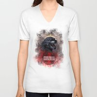 godzilla V-neck T-shirts featuring Godzilla by Denda Reloaded