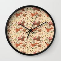 woodland Wall Clocks featuring Woodland by Sophie Eves