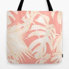Tropical Coral Pink Palm Leaf Pattern Tote Bag