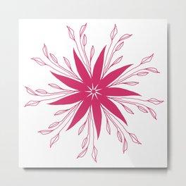 Retro Bold Bright Pink Floral Design Metal Print