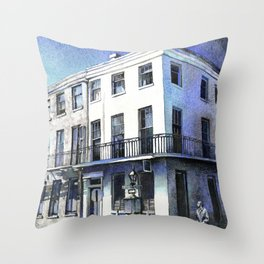 Watercolor painting colonial architecture in French Quarter- New Orleans, Louisiana Throw Pillow