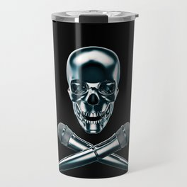 Pirate tunes / 3D render of skull and cross bones with microphones Travel Mug