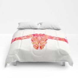 Water Buffalo Skull – Pink Ombré Comforters