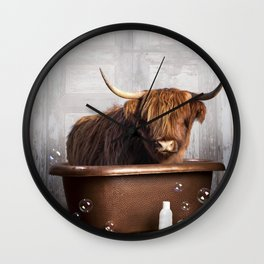 Highland Cow in the Tub Wall Clock