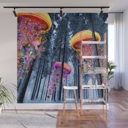 Winter Forest of Electric Jellyfish Worlds Wall Mural
