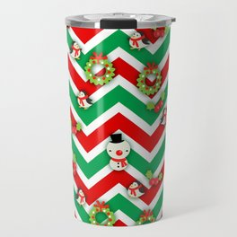 Festive Christmas Cartoons on Chevron Pattern Travel Mug