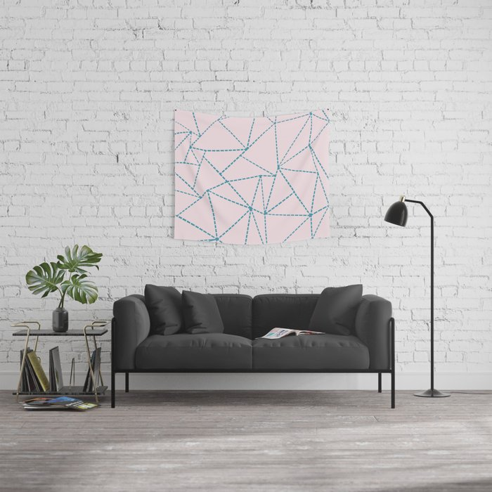 Ab Dotted Lines Blue on Pink Wall Tapestry