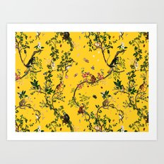 Monkey World Yellow Art Print