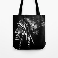 native american Tote Bags featuring Native American by Sandy Elizabeth