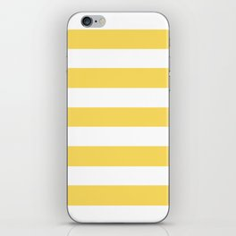 Naples yellow - solid color - white stripes pattern iPhone Skin