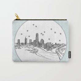 Austin, Texas City Skyline Illustration Drawing Carry-All Pouch