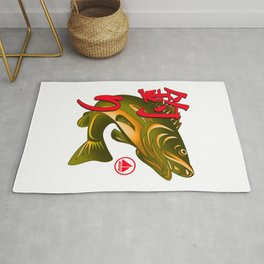 Design Image Details Fish Japanese Character Text Fishing Lover Rug