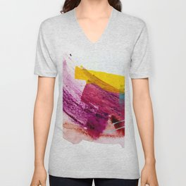 Pink Lemonade [2]: a minimal, colorful abstract mixed media with bold strokes of pinks, and yellow Unisex V-Neck