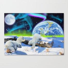 Joyful - Polar Bear Cubs and Planet Earth Canvas Print