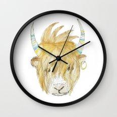 Yakety Yak Striped Illustration  Wall Clock