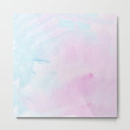 light blue and pink watercolor Metal Print