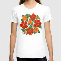 batik T-shirts featuring Hibiscus Batik Pattern by BluedarkArt