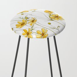 Yellow Cosmos Flowers Counter Stool