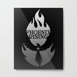 PHOENIX RISING grey on black with flames and star center Metal Print