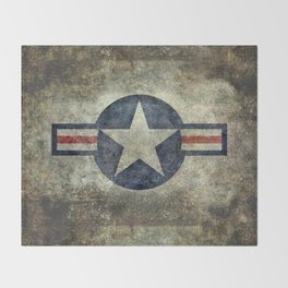 US Airforce style Roundel insignia V2 Throw Blanket