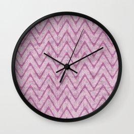 Soft Dusty Mauve Imitation Suede Zigzag Wall Clock