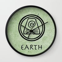 avatar the last airbender Wall Clocks featuring Avatar Last Airbender Elements - Earth by bdubzgear