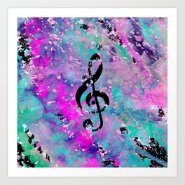 Artistic neon pink teal black watercolor classical music note Art Print