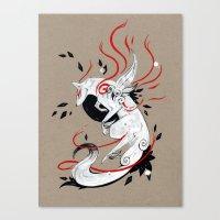 okami Canvas Prints featuring OKAMI RIBBONS by Rubis Firenos