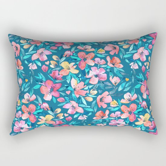 Teal Summer Floral in Watercolors Rectangular Pillow
