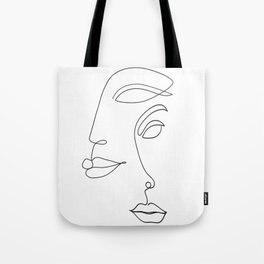 Two Faced Romantic Lovers Illustration Tote Bag