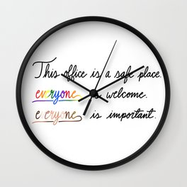 Office - Safe Place Wall Clock