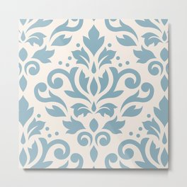 Scroll Damask Large Pattern Blue on Cream Metal Print