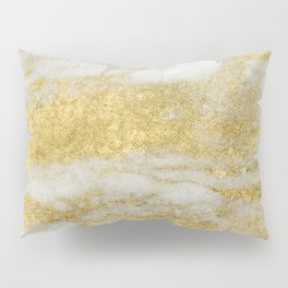 Marble - Glittery Gold Marble and White Pattern Pillow Sham