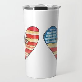 Torn Heart Flag Held Together With a Safety Pin Travel Mug