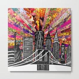 Linocut New York Blooming Metal Print