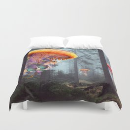 ElectricJellyfish Worlds in a Forest Duvet Cover