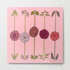 Garden Flowers Illustration - in Pinks Metal Print