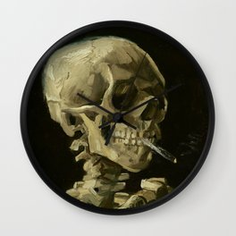 Skull Of A Skeleton With A Burning Cigarette - Vincent Van Gogh Wall Clock