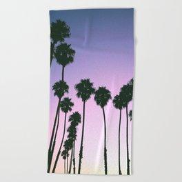 Palm Tree Purple Sunset Beach Towel
