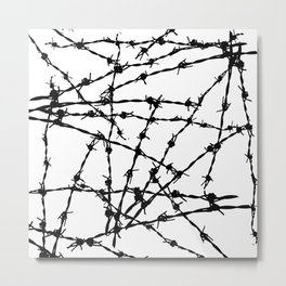 Black and White Barbed Wire Metal Print