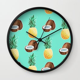 Pineapples and Coconuts Wall Clock
