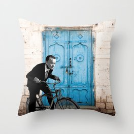 Let's travel on a bike  Throw Pillow