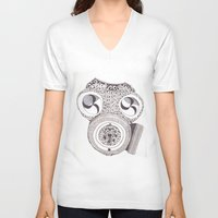 celtic V-neck T-shirts featuring Celtic gasmask by ronnie mcneil