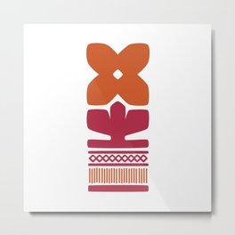 Nordic Orange Flower Metal Print